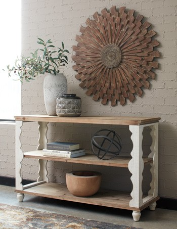 Alwyndale Antique White Brown Console Sofa Table