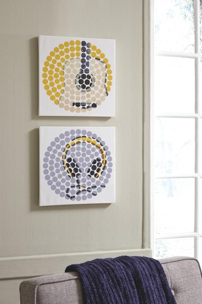 Peers - Blue/Yellow - Wall Art Set (2/CN)   A8000259   Wall Art ...