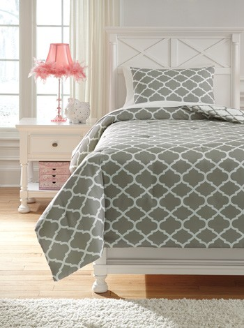 Media Gray White Twin Comforter Set Q790001t Bedding