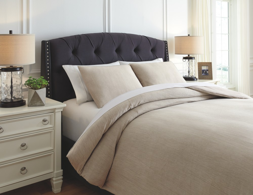 Mayda Beige Queen Comforter Set Q782003q Bedding