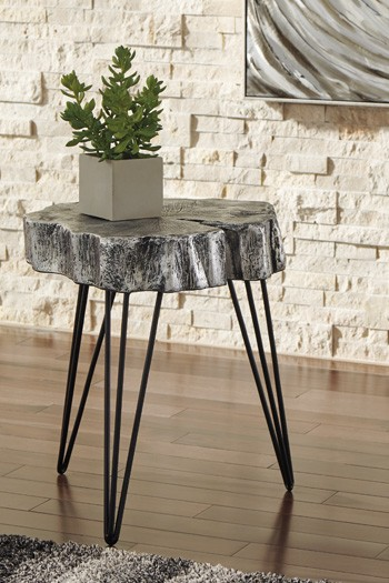 Dellman antique silver finish accent table a4000074 - Antique side tables for living room ...