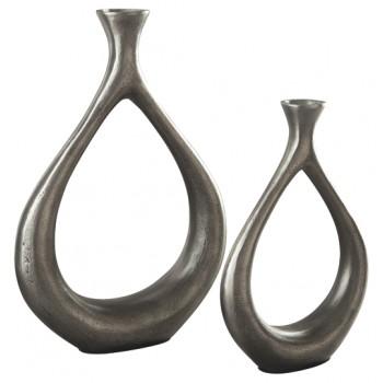 Dimaia - Antique Silver Finish - Vase (Set of 2)
