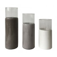 Deus - Gray/White/Brown - Candle Holder Set (3/CN)
