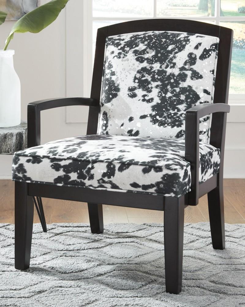 Charmant Treven   Black/Cream/Silver   Accent Chair