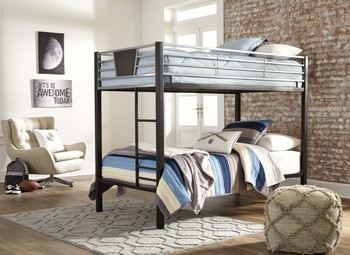 Dinsmore Black Gray Twin Twin Bunk Bed W Ladder B106