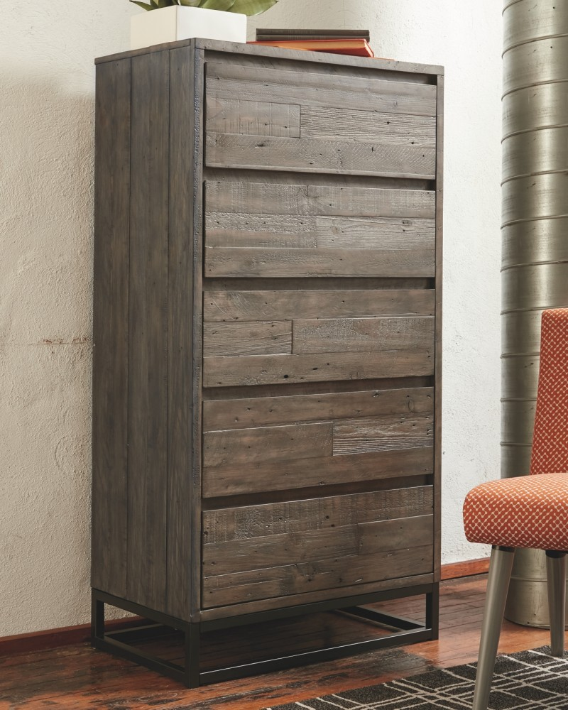 cazentine gray black five drawer chest b579 46 chests