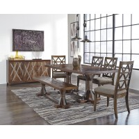 Devasheen - Rectangular Dining Room Table, 4 UPH Side Chairs & Bench