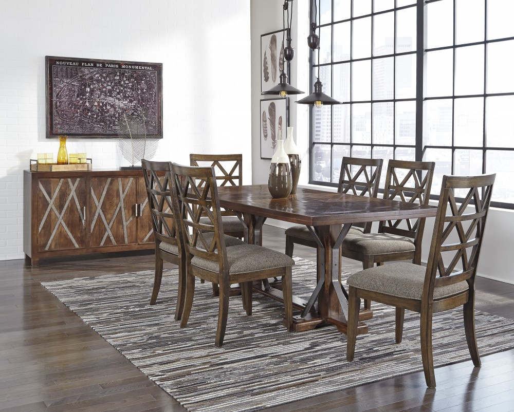 devasheen rectangular dining room table 6 uph side chairs d687 rh bakersfurnitureok com