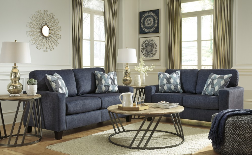Astounding Burgos Navy Sofa Loveseat 32803 38 35 Living Room Inzonedesignstudio Interior Chair Design Inzonedesignstudiocom