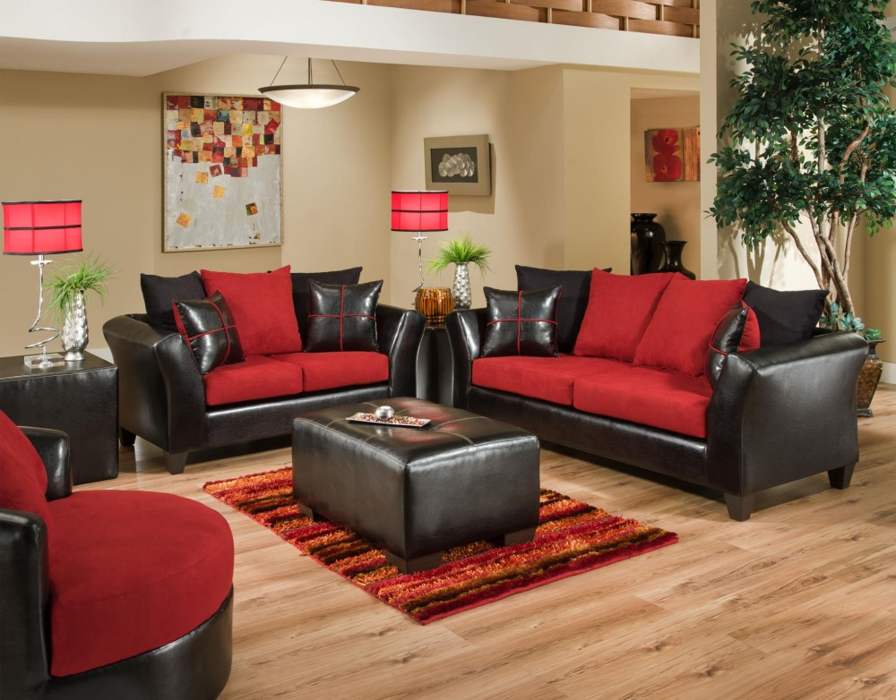 Sierra 4170 Red Sofa And Loveseat 4170 04 Living Room