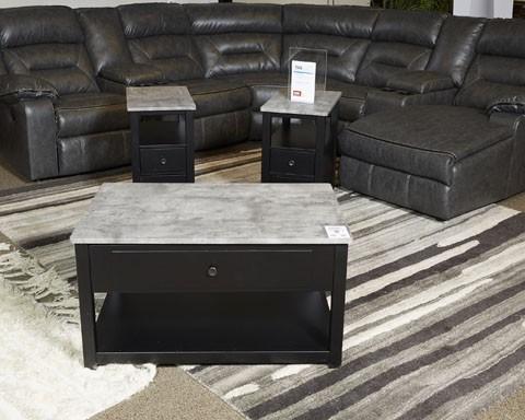 Ezmonei - Black/Gray - Chair Side End Table