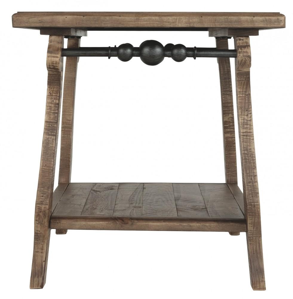 Lighted End Tables Living Room Furniture: Dazzelton - Light Brown - Rectangular End Table