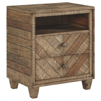 Grindleburg - Light Brown - Two Drawer Night Stand