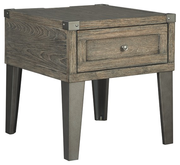 Charmant Chazney   Rustic Brown   Rectangular End Table