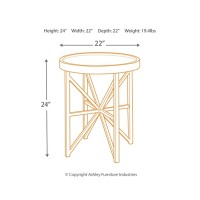 Cazentine - Grayish Brown/Black - Round End Table
