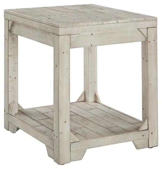 Fregine - White Wash - Rectangular End Table