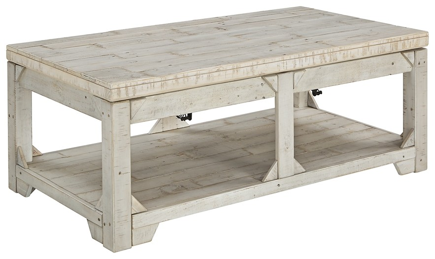 Fregine White Wash Lift Top Cocktail Table T755 9 Cocktail