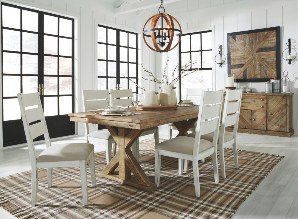 f0ffda5f2a407 Grindleburg - White Light Brown - Rectangular Dining Room Table ...