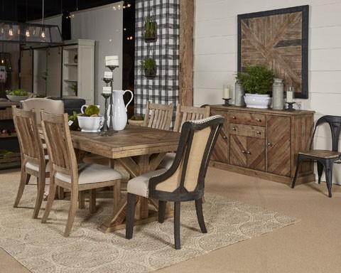 grindleburg - white/light brown - rectangular dining room table