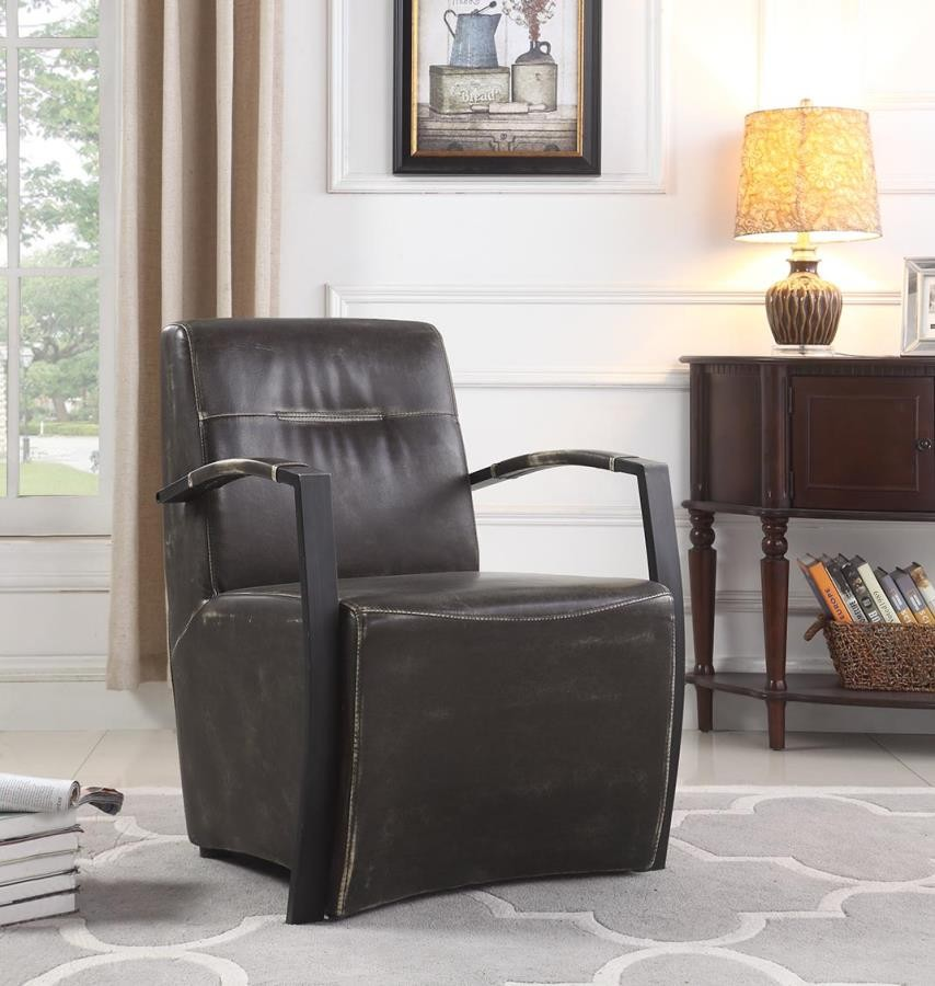 Super Industrial Brown And Grey Accent Chair Theyellowbook Wood Chair Design Ideas Theyellowbookinfo