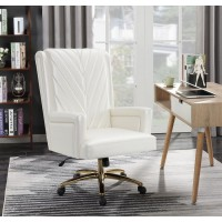 Upholstered Office Chair Pearl White and Brass