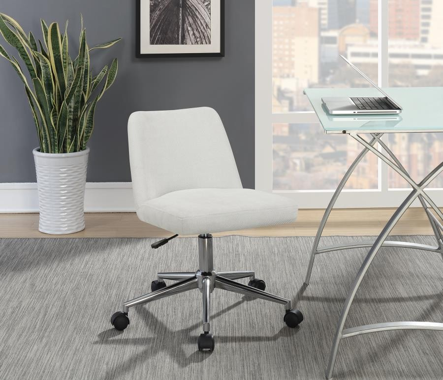 Upholstered Office Chair Beige and Chrome