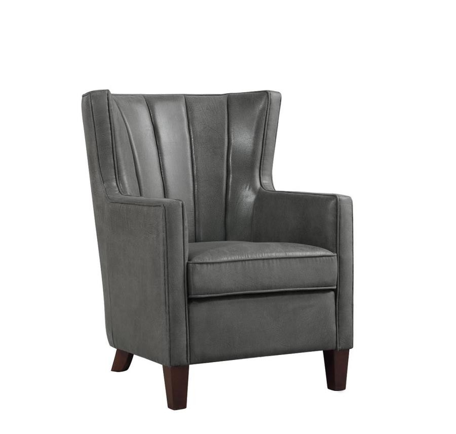 Accent Chairs Wingback.Upholstered Dark Grey Wing Back Accent Chair