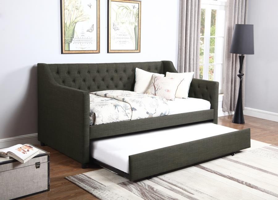 Bilson Upholstered Tufted Daybed with Trundle Charcoal
