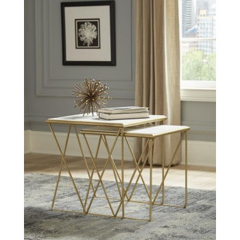 Modern Marble and Gold Nesting Tables