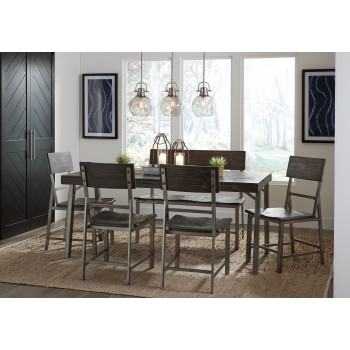 Raventown - Rectangular Dining Room Table, 4 Side Chairs & Double Dining Chair