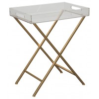 Ervinville - Clear/Gold Finish - Accent Table