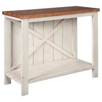 Abramsland - White/Brown - Console Sofa Table