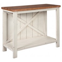Abramsland - White/Brown - Console Sofa Table