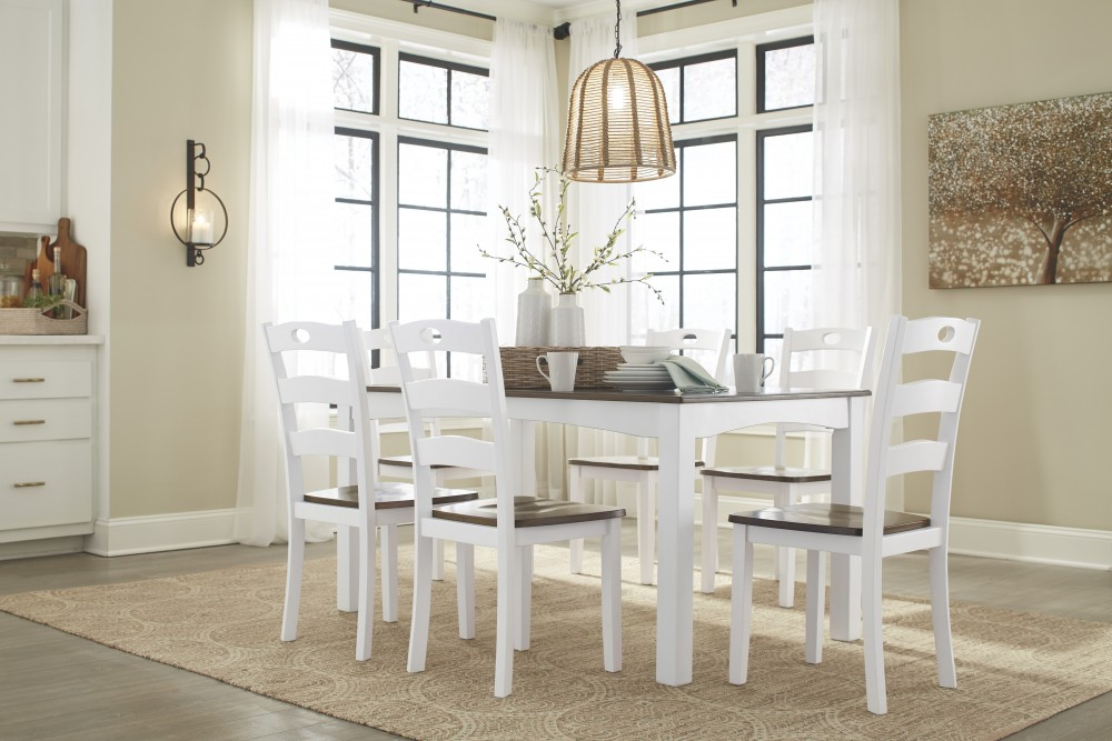 Woodanville - White/Brown - 7pc Dining Room Group