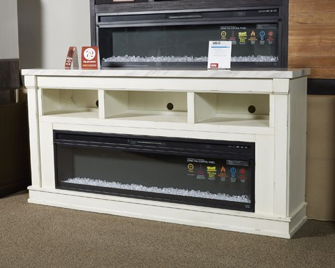 Becklyn Chipped White Xl Tv Stand W Fireplace Option