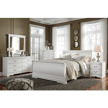 Anarasia - White- 6pc Queen Bedroom Package- 3pc Queen Bed, Dresser, Mirror, & Nightstand