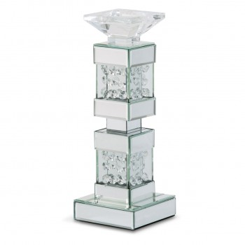 Montreal Mirrored/Crystal Candle Holder