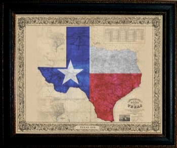 Texas Color Map 20 X 24