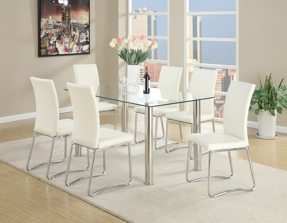 Glass and Stainless Steel 7pc Dinning Set