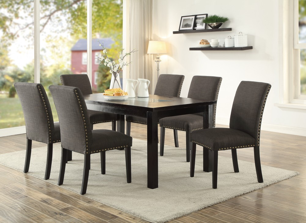 Surprising Neston 7 Piece Dining Set With Linen Chair And Nailhead Trim Bralicious Painted Fabric Chair Ideas Braliciousco