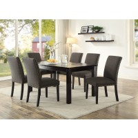 Neston 7 Piece Dining Set with linen chair and nailhead trim