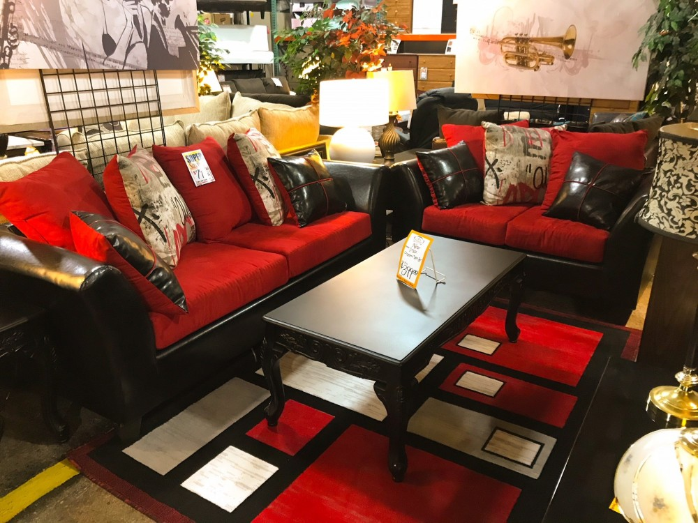 Two Tone Red and Black Sofa and Loveseat | REDCOLLUMS | Living Room ...