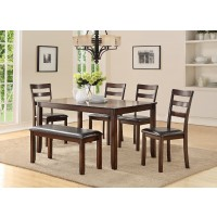 Taylor 6Pcs  Dining Set Table + 4Chairs + Bench