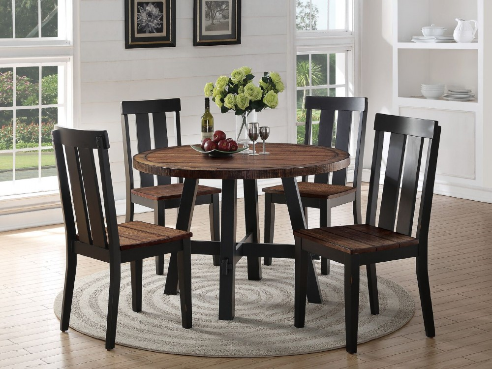 Farmhouse Dining Set Table + 4 Chairs