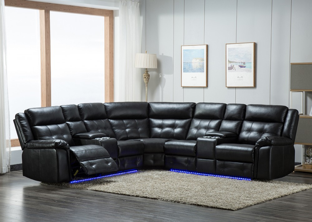 Excellent 3 Pc Power Reclining Sectional With Led Lights U46 Pabps2019 Chair Design Images Pabps2019Com