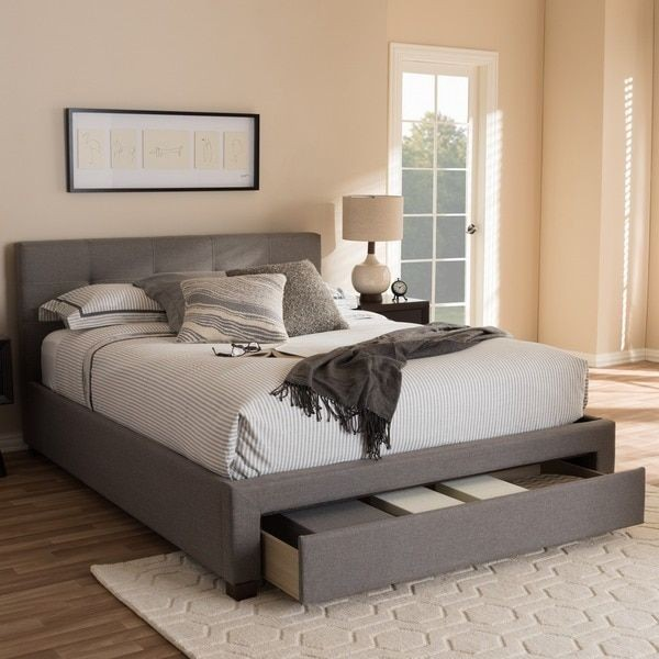 Queen Grey Linen Fabric Bed with Storage Drawer