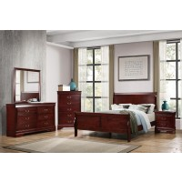 Louis Philippe Traditional Cherry Five-Piece Queen Bedroom Set