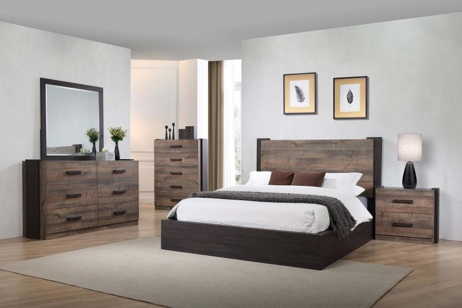 . Weathered Oak and Rustic Coffee Five Piece Queen Bedroom Set
