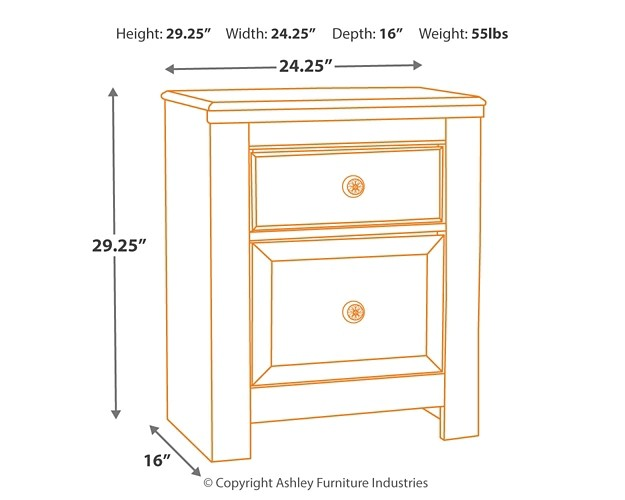 Paxberry White Wash Two Drawer Night Stand B181 92