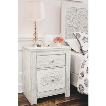 Paxberry - White Wash - Two Drawer Night Stand